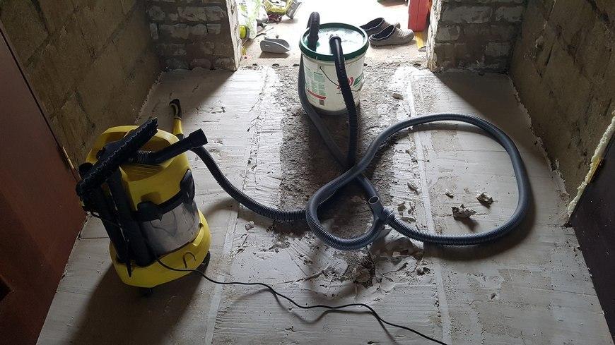 циклон с пылесосом в работе