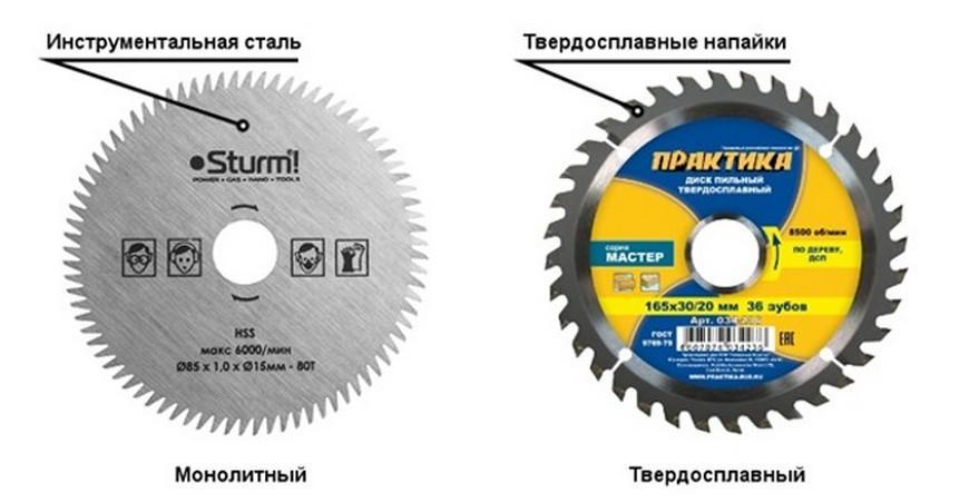 монолитный и твердосплавный диск
